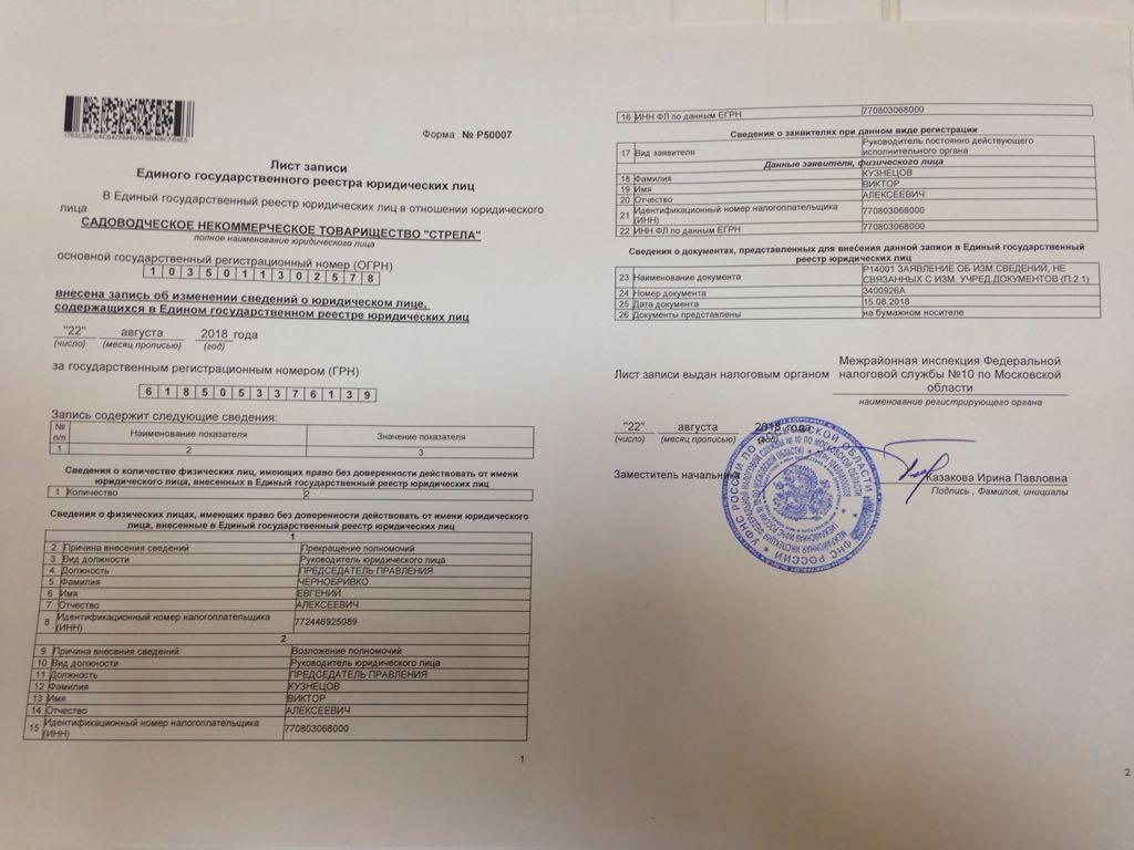 документы для регистрации председателя снт